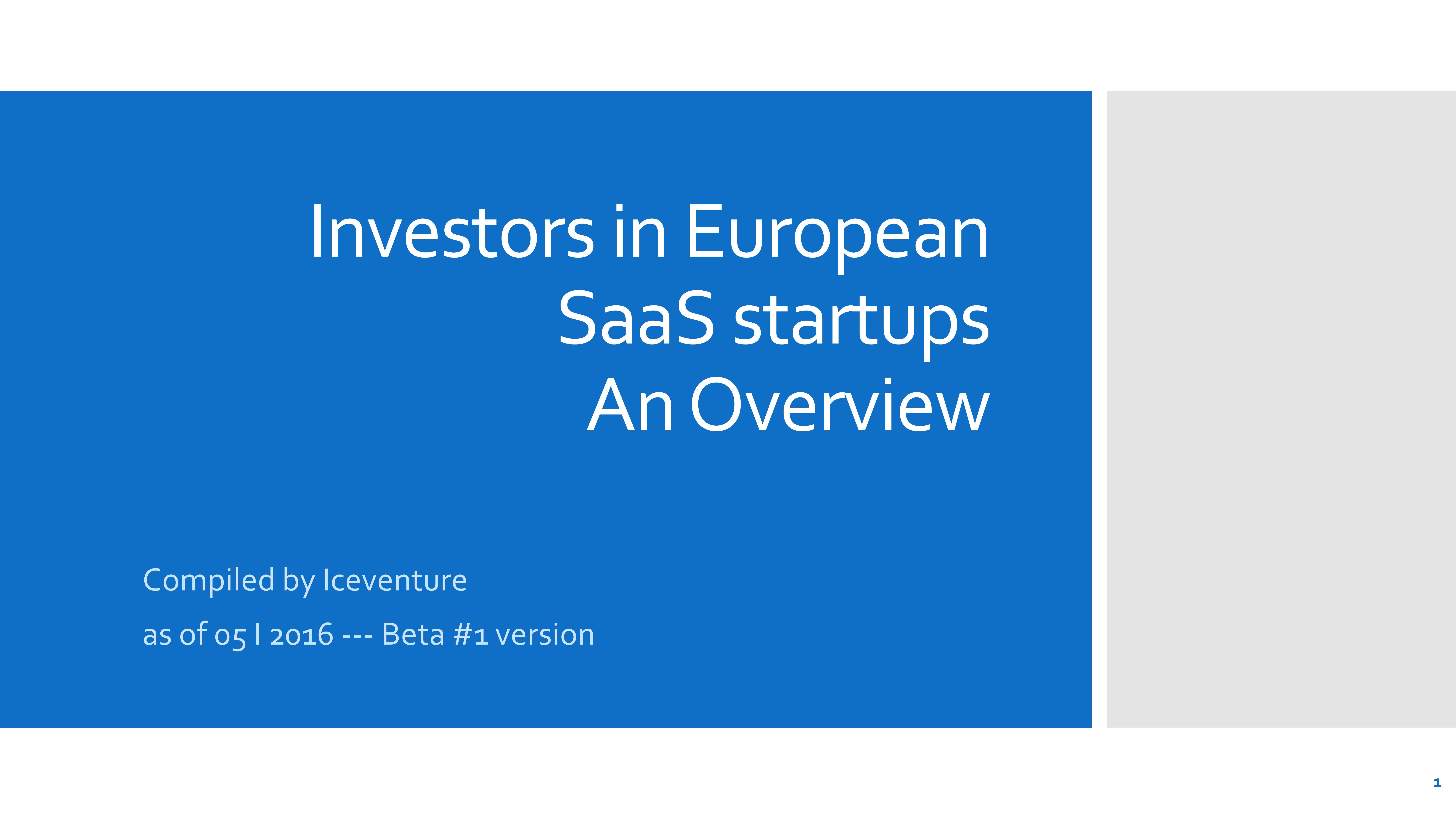 Investoren in europäische SaaS Startups