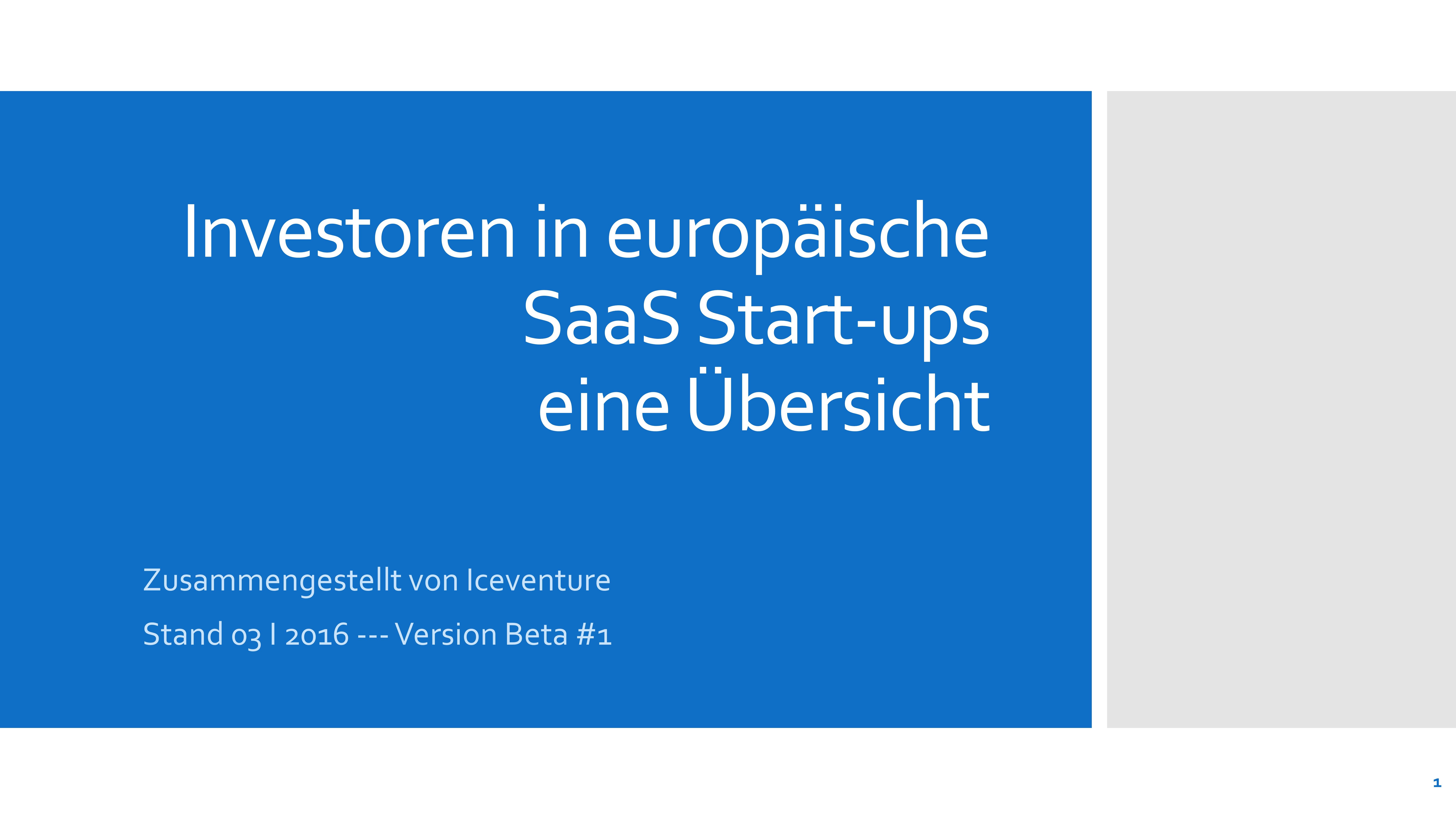 Übersicht SaaS Investoren Europa Software as a Service